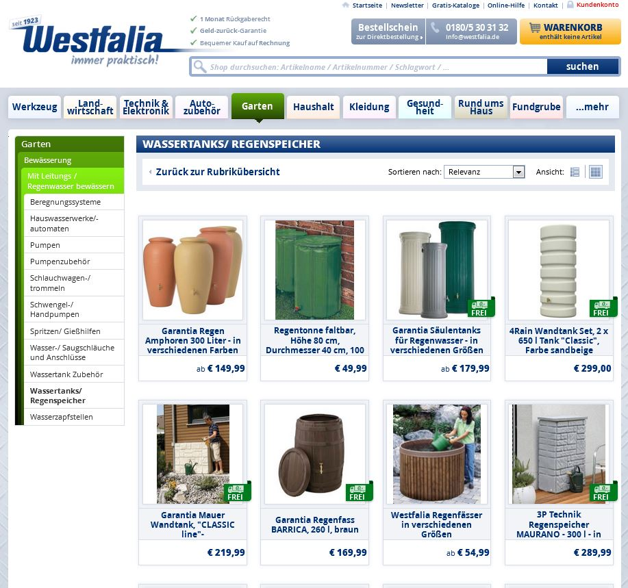 westfalia katalog zum thema regenwassernutzung. Black Bedroom Furniture Sets. Home Design Ideas